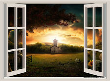 Country Church Sunset Window View Repositionable Color Wall Sticker Mural 23x17