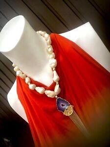 Designer Luxus  Kette Barock Perlen Anhänger Achat Unikat