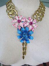 Vintage Enamel Flowers Statement Necklace Pink & Blue- A Repurposed Original!