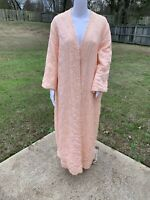 Vintage 1970s Sears At Home Wear Long Peach Orange Quilted Robe