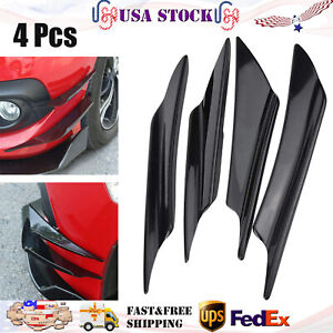 4pcs Glossy Black Car Bumper Fin Canard Splitter Diffuser Valence Spoiler Lip
