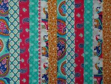 24 JELLY ROLL STRIPS COTTON PATCHWORK FABRIC INDIAN GARDEN JADE 22 INCH LONG