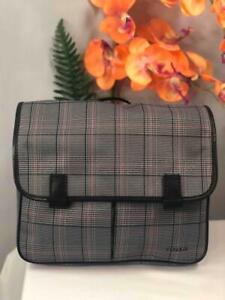 """FOSSIL Mens """"Mercer"""" E/W City Black & Gray Plaid Messenger Crossbody Bag"""