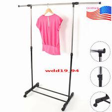 Rolling Metal Rack Hanger Clothes Clothing Storage Shelf Garment Bar Shoe Shelf
