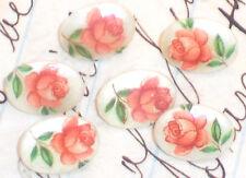 #920 Vintage Glass Buttons Limoges Floral Rose Tiny Japan 8m Floral Victorian