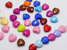 100 Mixed Bubblegum Color Acrylic Love Heart Beads 12X12mm