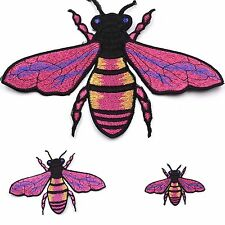 3 Pink Bee Fashion Metallic Embroidered Applique Sew On Patch DIY Clothing