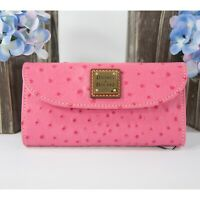 Dooney and Bourke Hot Pink Ostrich Leather Trifold Wallet NWT