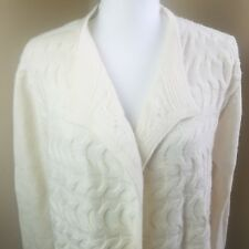 Talbots Cable Knit Open Cardigan Sweater Sz L large merino wool cashmere cream