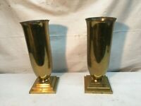 Vtg Pair  Brass Funeral Floral Floor Vase 11in Tall Sunbury Brass  USA Art Deco