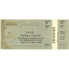 CHER Concert Ticket Stub AUBURN HILLS MI 10/13/02 PALACE FAREWELL TOUR NO SONNY
