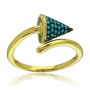 OPEN END CONE  W/ TURQUOISE /SZ 5 - 9/ 14K YELLOW GOLD OVER 925 STERLING SILVER