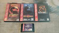 Genuine Mortal Kombat 1 2 3 Ultimate Games Set x4 Sega Genesis *NTSC-U*