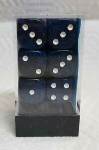 Dice - Chx 16mm Speckled Stealth w/White Pips - Box of 12 - A Wealth of Stealth!