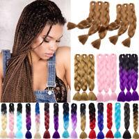 "24"" Long Kanekalon Jumbo Braiding Hair Extensions For Crochet Twist Braids US5"