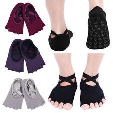 Combed Cotton Toeless Half Toe Yoga Socks Grip for Pilates Barre Ballet Dance