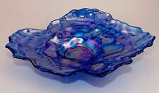 BEAUTIFUL MURANO ART GLASS CARNIVAL IRIDESCENT OYSTER SHELL DISH ITALIAN BLUE