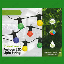 14.5M 20 Coloured LED Lights Outdoor Indoor Festoon Party String Lighting Xmas