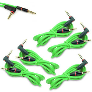 5X 4FT 3.5MM AUX L M/M AUDIO CABLE CORD GREEN FOR LG OPTIMUS G2 HTC ONE MOTO X G