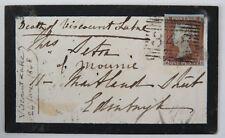 GB histoire postale QV 1d Penny rouge Imperforé RC (SG8) Portobello 1848