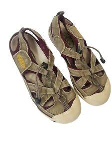 Keen Women's 8.5 Leather Sport Sandals Tan/Burgundy Clean Comfort