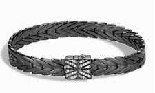 JOHN HARDY  silver 925 Modern Chain 8 mm Diamonds  woven bracelet $1095 NEW