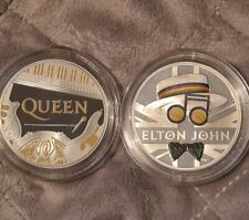 Royal Mint Elton John And Queen One Ounce Coloured Silver Proof Coin Collection