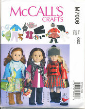 """MCCALL'S SEWING PATTERN 7006 18"""" DOLL CLOTHES - TOP PANTS SKIRT HATS BAGS SHOES"""