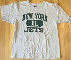 Vintage 90s Champion NEW YORK JETS XL heather gray NFL football embroidered