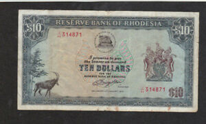 10 DOLLARS FINE BANKNOTE FROM RHODESIA 1979 PICK-41  RARE