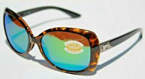 COSTA DEL MAR Sea Fan 580P POLARIZED Sunglasses Womens Retro Tortoise/Green NEW