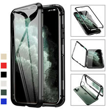 For iPhone 11 Pro Max 360° Magnetic Metal Case Double-sided Tempered Glass Cover