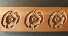 19ksg185 JAPANESE KASHIGATA WOOD CAKE MOLD THREE PEONY FLOWERS BOTAN HAND CARVED