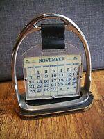 Vintage Mid Century Chromed Horse Stirrups Perpetual Calendar (circa 1960's)