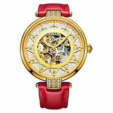BUREI Women Gold Steel Skeleton Crystal Automatic Mechanical Watch Leather  Band