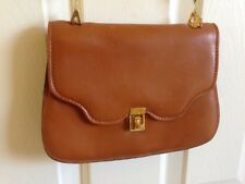 Italian Mid Century Bag Gold Chain Purse Italy Tan Brown Leather Crossbody 60s