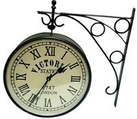 "VINTAGE STYLE VICTORIA STATION 6"" BLACK DOUBLE-FACE HOME DÉCOR WALL CLOCK WC 03"