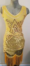 Womens Costume - 1920s Yellow Flapper Dress With Accessories - Size Small - New!