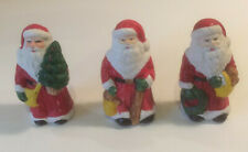Mini Santas Figurines 3 Porcelain Miniatures Decor Holiday Christmas Decorations