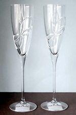 Vera Wang Wedgwood LOVE KNOTS Crystal Flutes SET/2 Etched Bow New