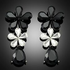 Black & White Acrylic Crystal Flower Women Wedding Party Elegant Dangle Earrings