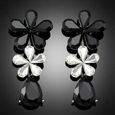 Fashion White Black Rhinestone Crystal Jewellery Ear Stud Earrings for Lady
