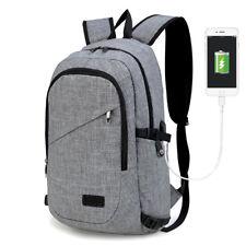 73e92154f71e Unisex Backpack Laptop USB Port Charger Rucksack School Travel Bag  Lightweight Grey