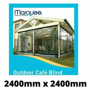 Marquee  Heavy DutyPVC Outdoor Cafe Blind - 2400mm x 2400mm Clear SYD Stock
