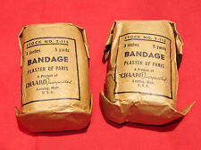 "2 pcs WWII Plaster of Paris Field Cast, Chaard Inc Medic 3"" x 15ft Bandage 2-115"