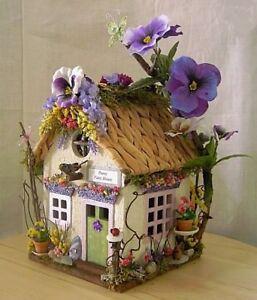 PURPLE PANSY FLOWER FAIRY HOUSE Fairy Garden Miniature Doll House w ACCESSORIES