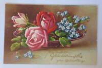 Geburtstag, Blumen, Rosen, Vergissmeinnicht,  1933, Prägekarte  ♥  (80062)