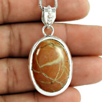 Oval Shape Natural Jasper Gemstone Jewelry 925 Solid Sterling Silver Pendant Q2