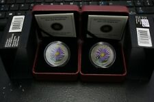 lot of 2 Canada 2012 25 Cents Coloured Aster With Bumble Bee