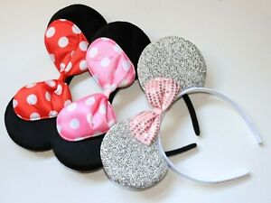3 Minnie Mouse  Red & Pink Bow-Mickey Mouse Ears Headbands adult/kid